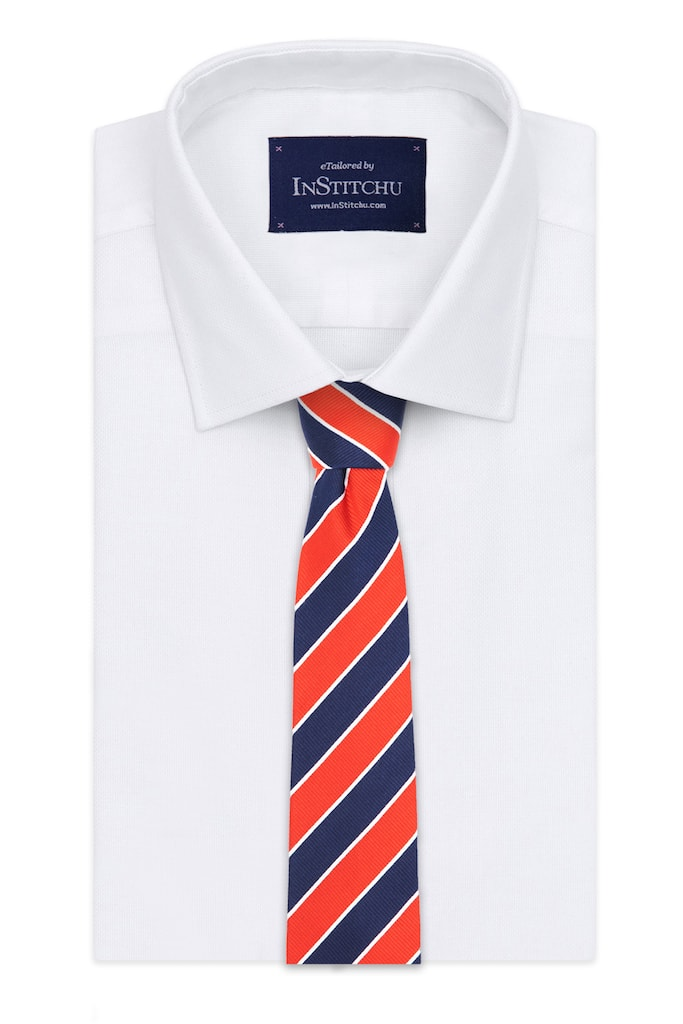 InStitchu Essentials Accessories Tie Cable Red, Navy and White Striped Silk Tie