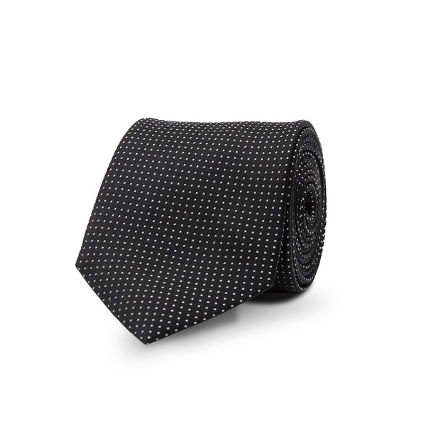 InStitchu Essentials Accessories Tie Clovelly White Spotted Black Silk Tie