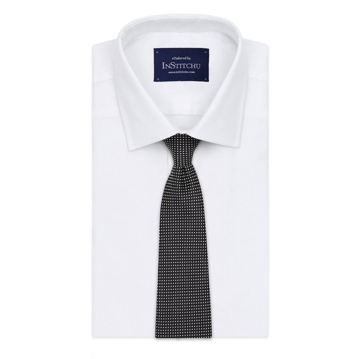 InStitchu Essentials Accessories Tie Clovelly White Spotted Black Silk Tie