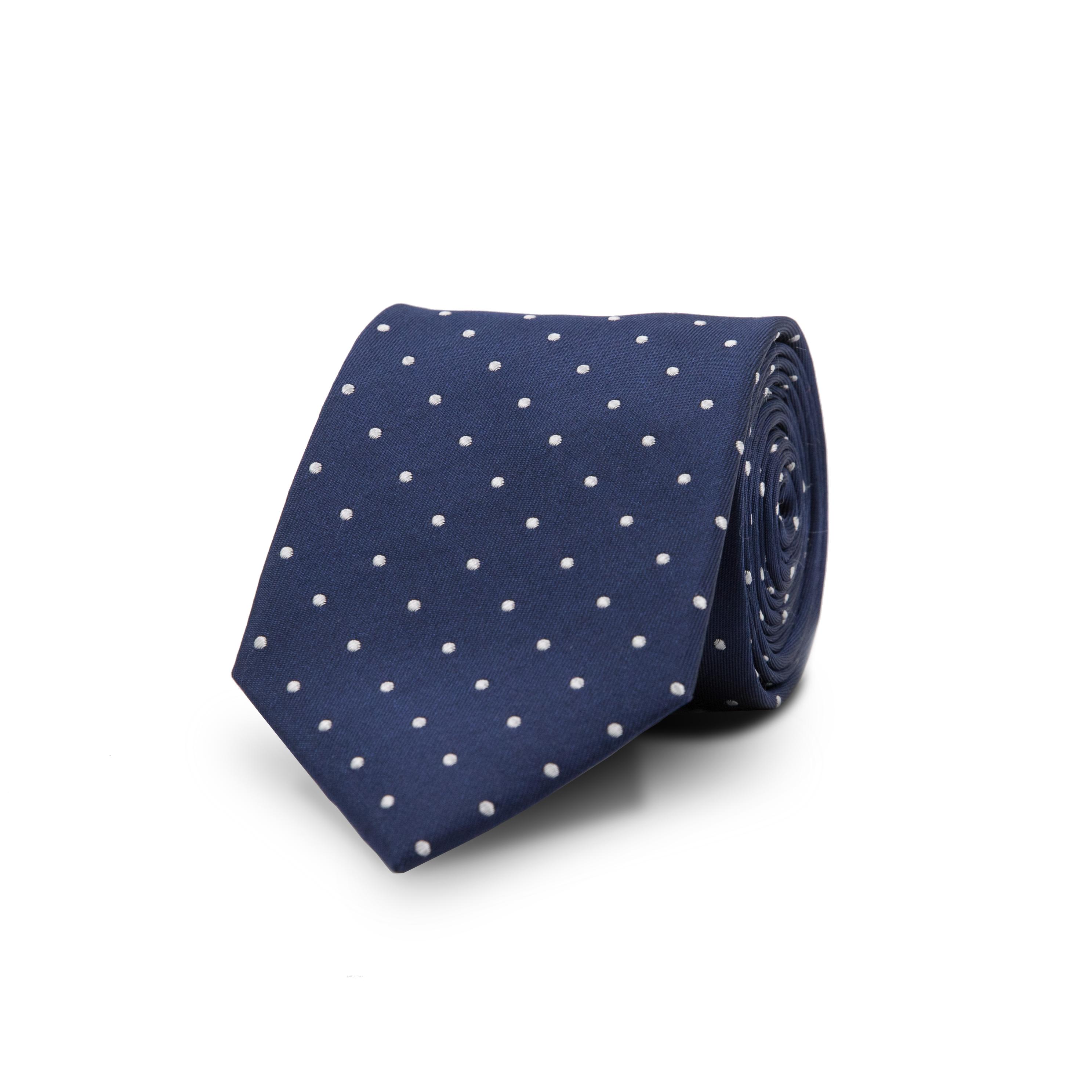 InStitchu Essentials Accessories Tie Bondi White Spotted Dark Navy Silk Tie