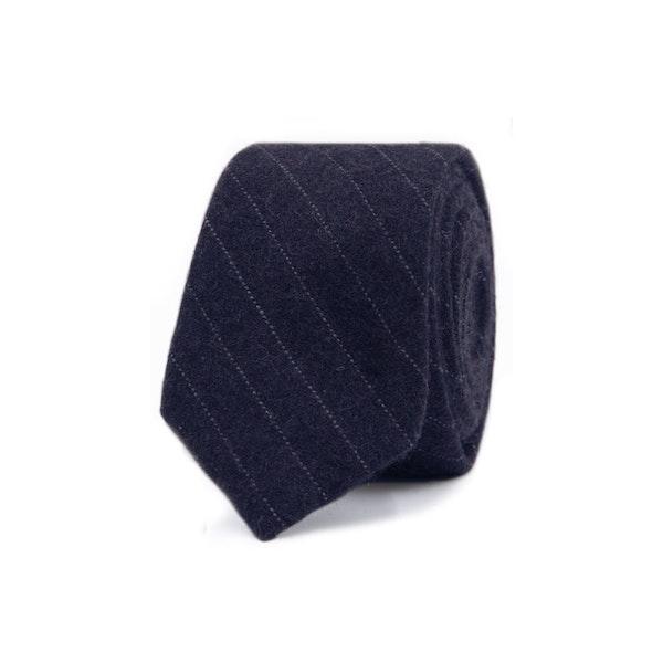 InStitchu Essentials Accessories Tie Whitehaven Deep Navy Blue and White Pinstripe Wool Blend Tie