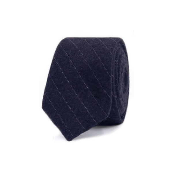 InStitchu Essentials Accessories Tie Whitehaven Deep Navy Blue and White Pinstripe Wool Blend Tie
