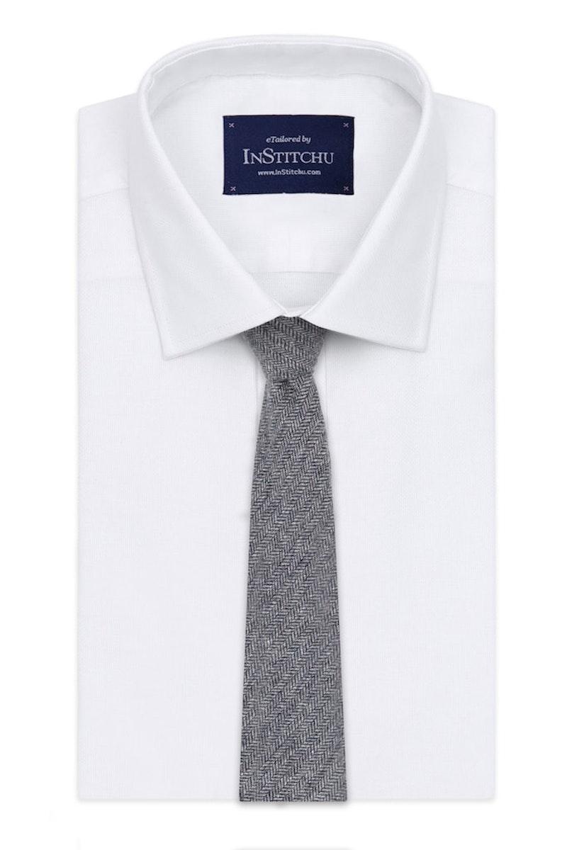 InStitchu Essentials Accessories Tie Clontarf Mid-Blue-Grey Arrowpoint Wool Blend Tie