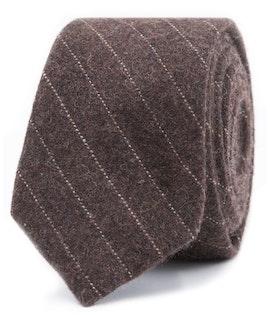 InStitchu Essentials Accessories Tie Sorrento Earthy Brown and White Pinstripe Wool Blend Tie