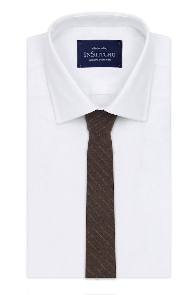 InStitchu Essentials Accessories Tie Sorrento Earthy Brown and White Pinstripe Wool Blend Tie