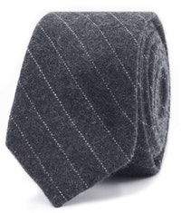 InStitchu Essentials Accessories Tie Camp Cove Charcoal and White Pinstripe Wool Blend Tie