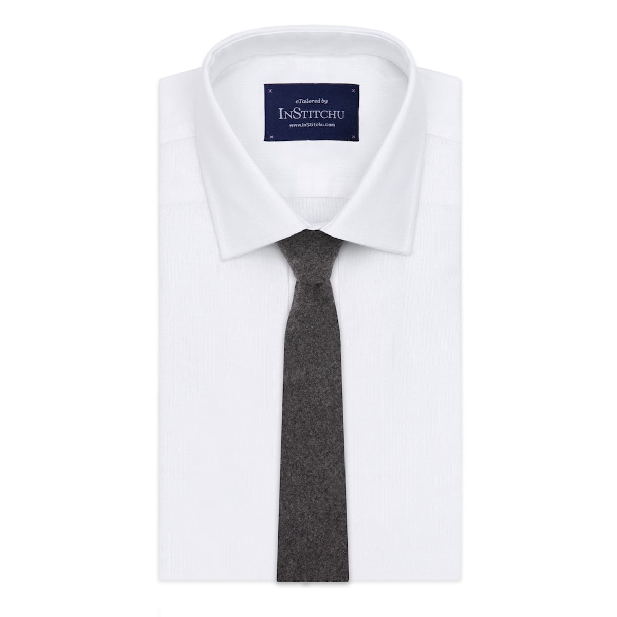InStitchu Essentials Accessories Tie Shelly Deep Charcoal Wool Blend Tie