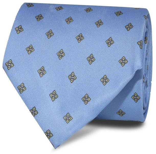 InStitchu Accessories Bream Emblem Light Blue Silk Tie