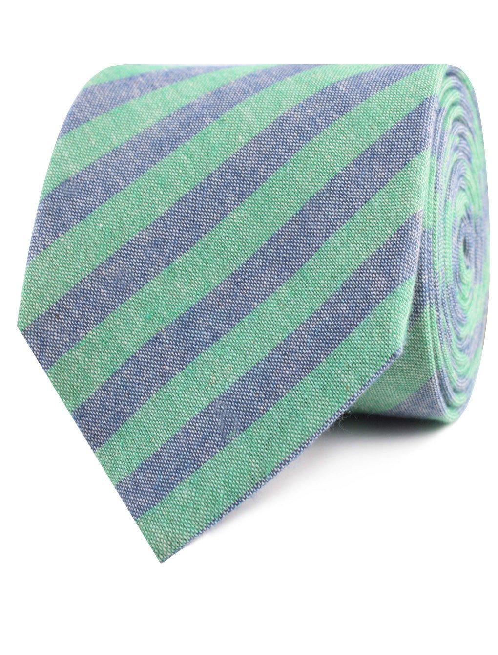 InStitchu Accessories tie  OTAA Green & Blue Bengal Linen Tie