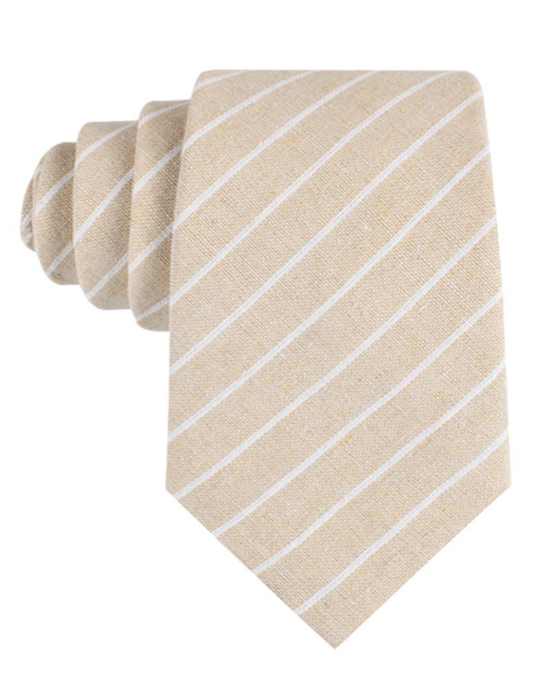InStitchu Accessories tie  OTAA Khaki Linen Pinstripe Tie