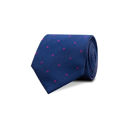 InStitchu Accessories tie InStitchu Navy Tie with Magenta Polka Dots
