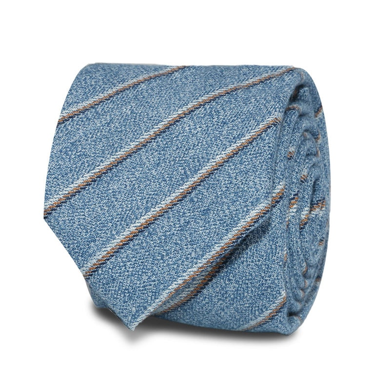 InStitchu Accessories Marley Striped Light Blue Cotton Tie