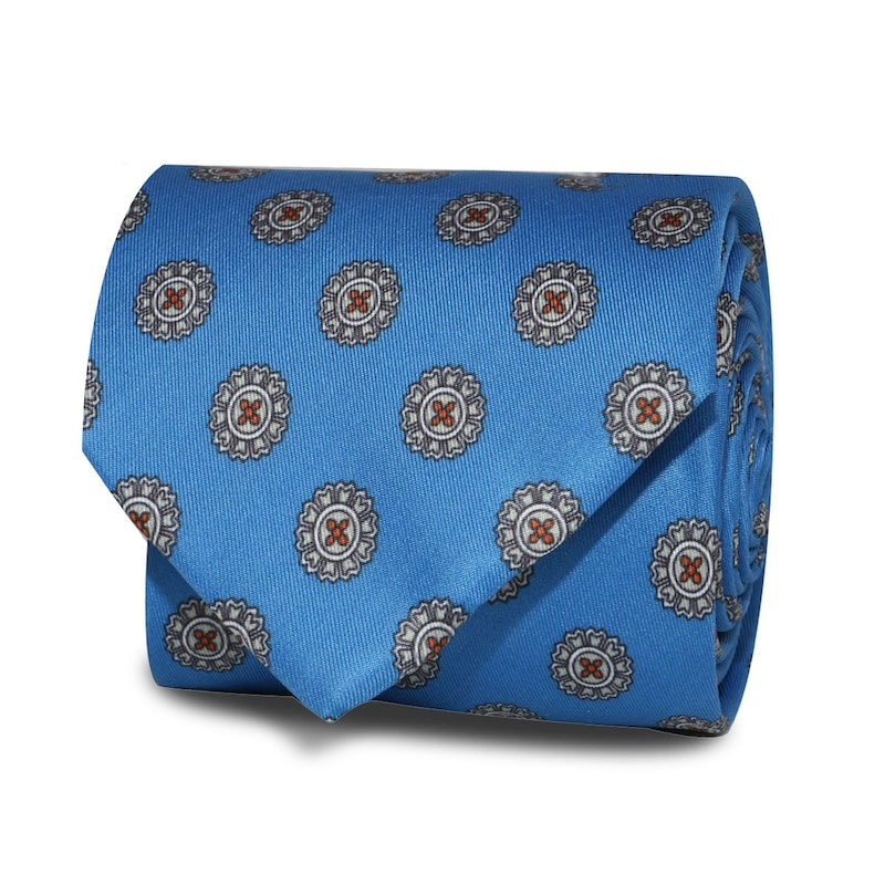 InStitchu Accessories Obelisk Emblem Mid Blue Tie
