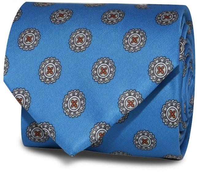 InStitchu Accessories Obelisk Emblem Mid Blue Silk Tie