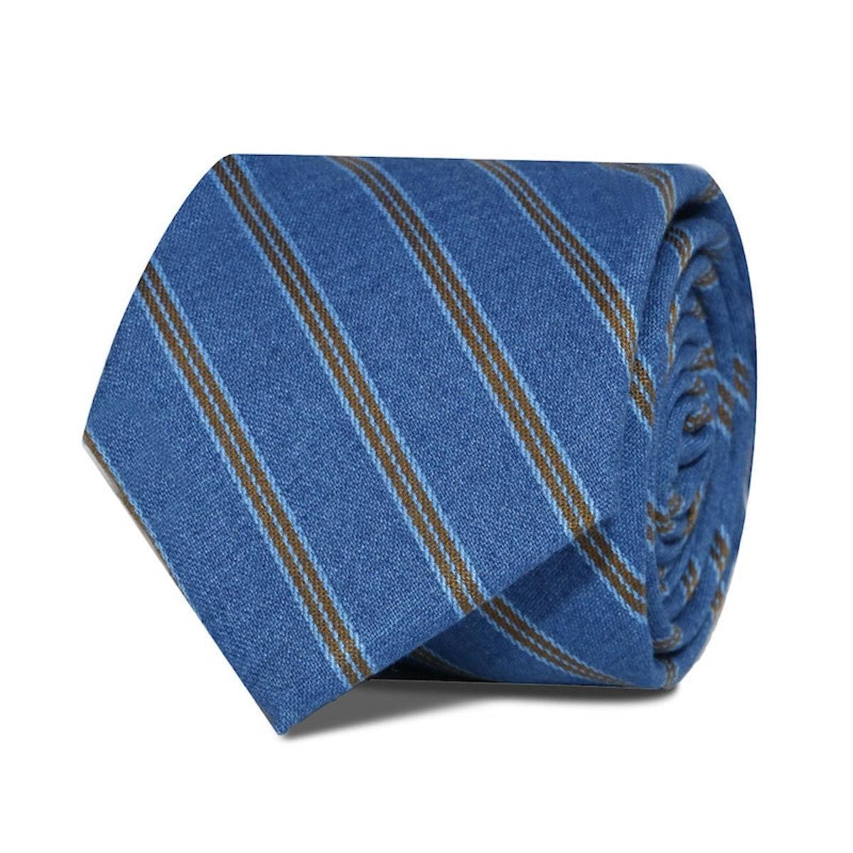 InStitchu Accessories Taylors Striped Mid Blue Cotton Tie