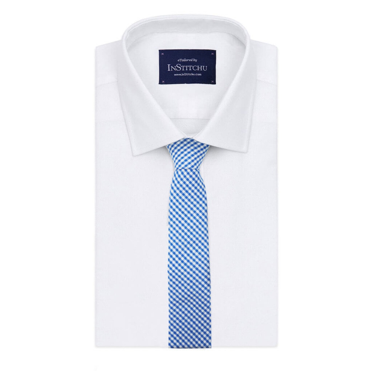InStitchu Essentials Accessories The Dante Blue Gingham Cotton Tie on shirt