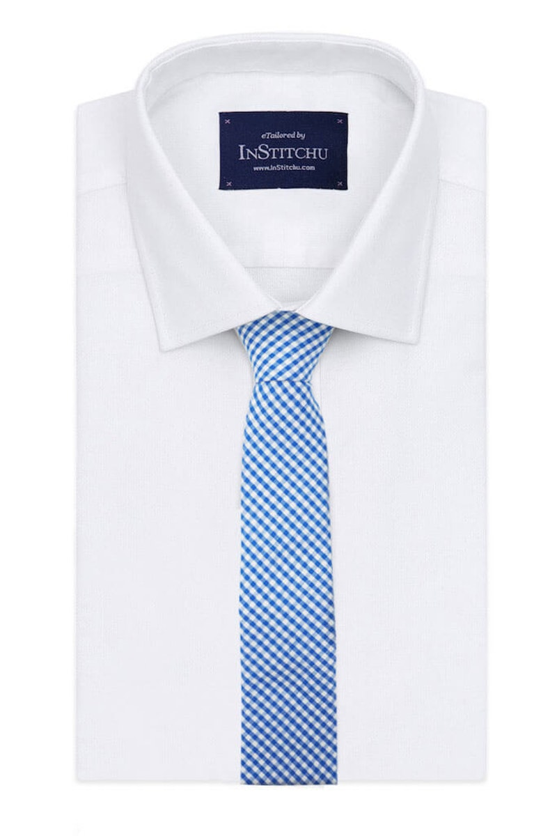InStitchu Essentials Accessories The Dante Blue Gingham Cotton Tie on shirt