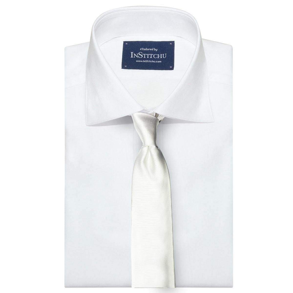 InStitchu Collection The Scalo White Plain Silk Tie