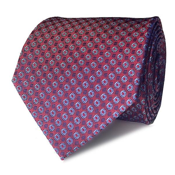InStitchu Collection The Tursi Maroon Geometric Silk Tie