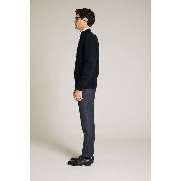 InStitchu Collection Lachlan Black Wool Blend Zip Knit