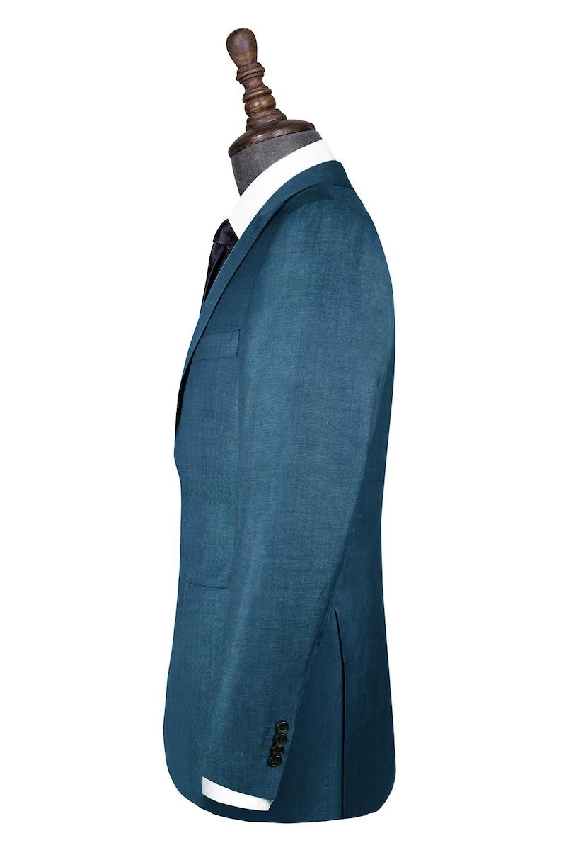 InStitchu Collection Blue Linen Silk Blend Jacket