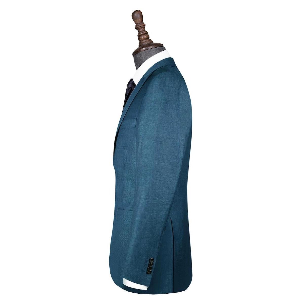 InStitchu Collection Blue Linen Silk Blend Jacket