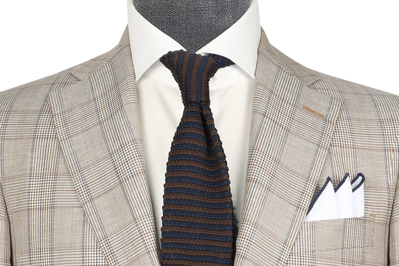 InStitchu Collection Brown Glen Plaid Wool and Linen Blend Jacket