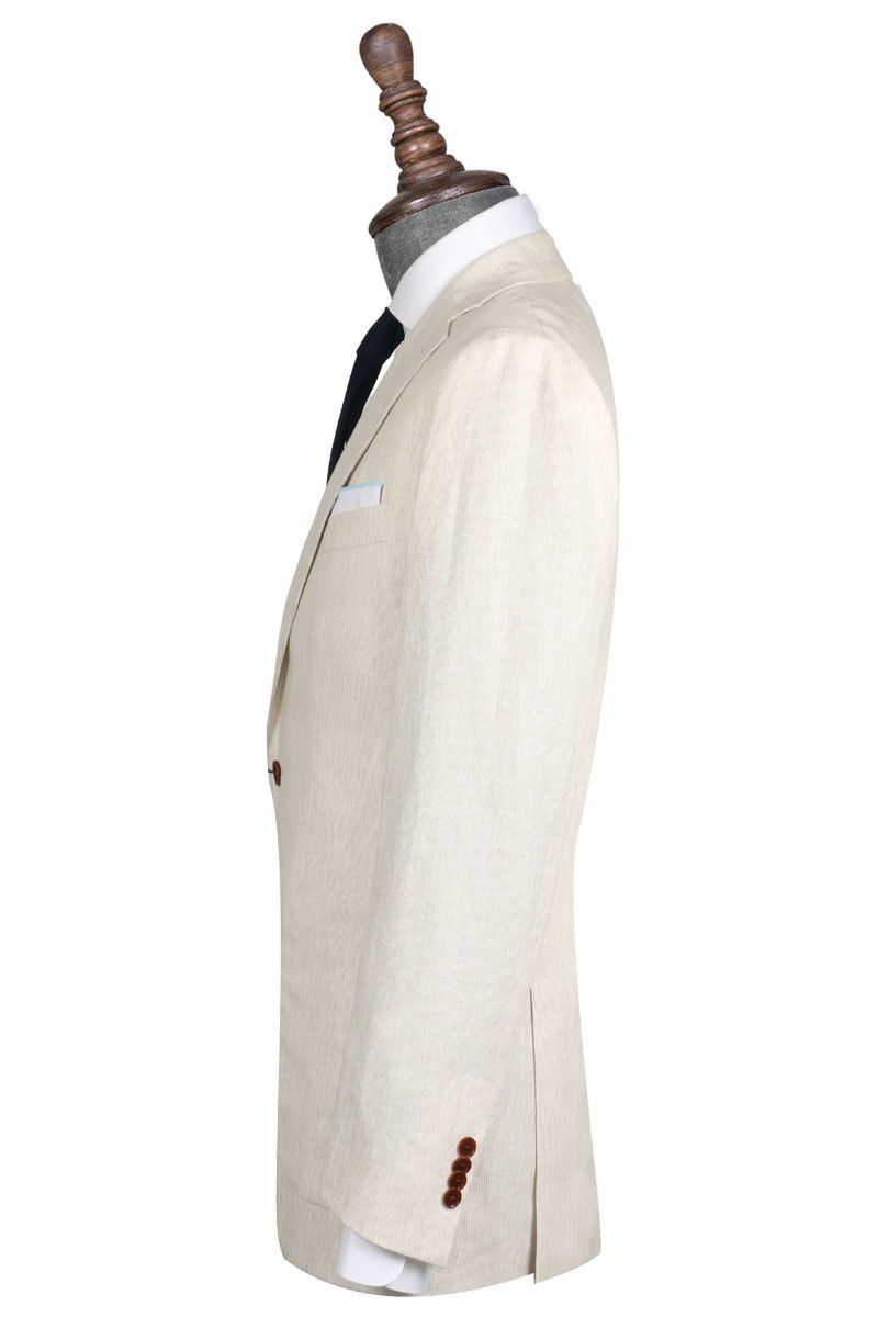 InStitchu Collection Cream Linen Blend Casual Jacket