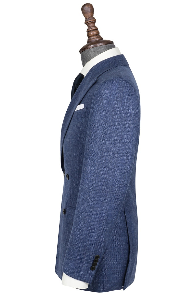 InStitchu Collection Eton Nailhead Blue Wool Jacket
