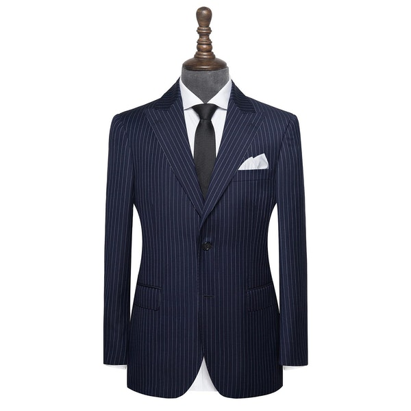 InStitchu Collection Fleg Grey Pinstripe Wool Jacket