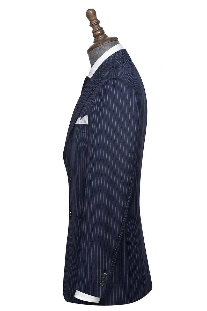 InStitchu Collection Fleg Grey Pinstripe Wool Jacket