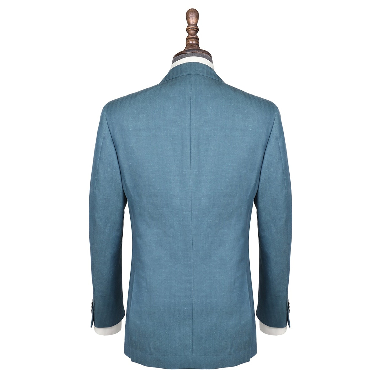 InStitchu Collection Green Herringbone Linen and Cotton Blend Jacket