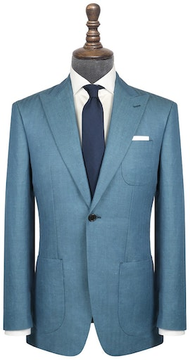 InStitchu Collection Hader Teal Linen Blend Jacket