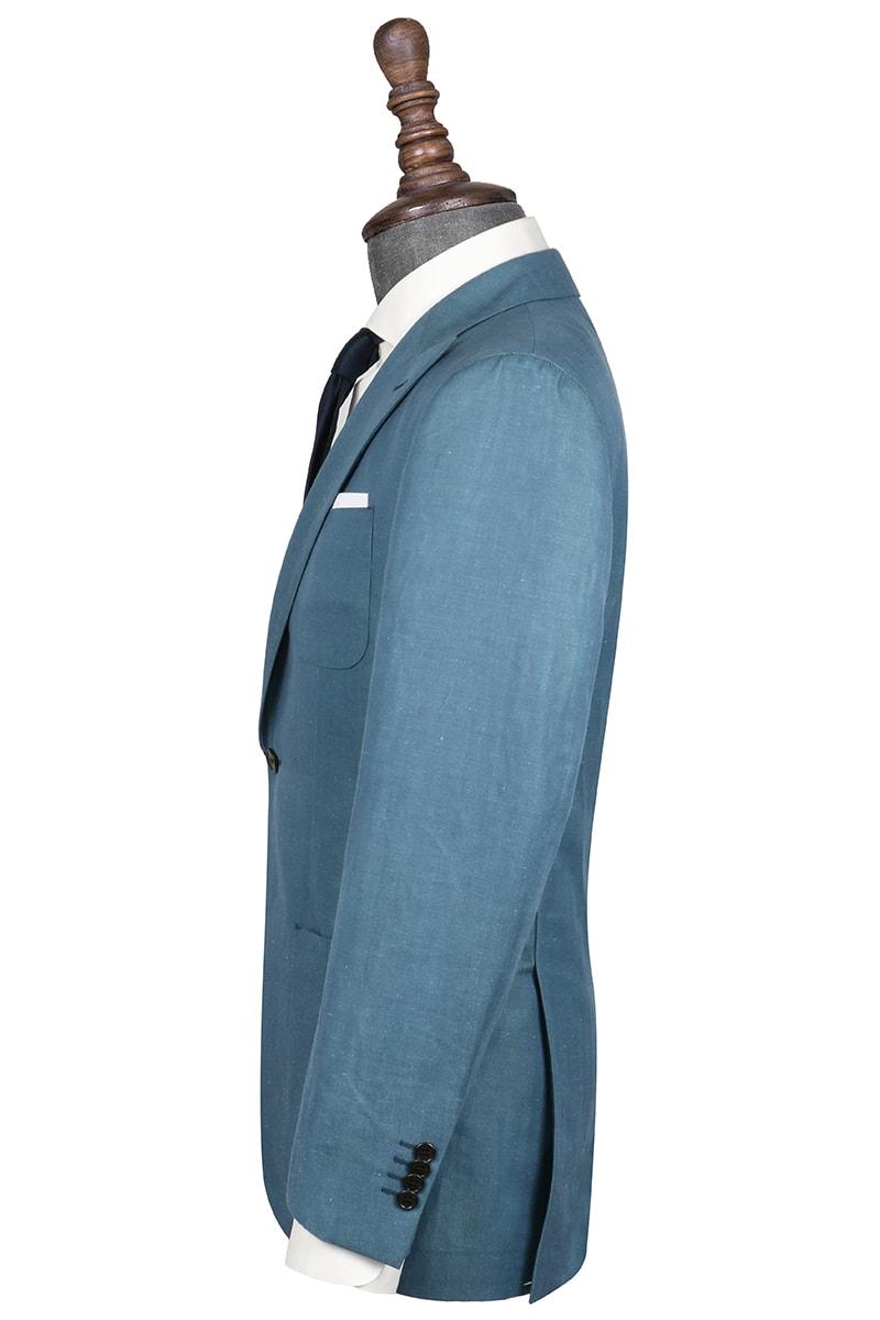 InStitchu Collection Hader Teal Linen Blend Jacket
