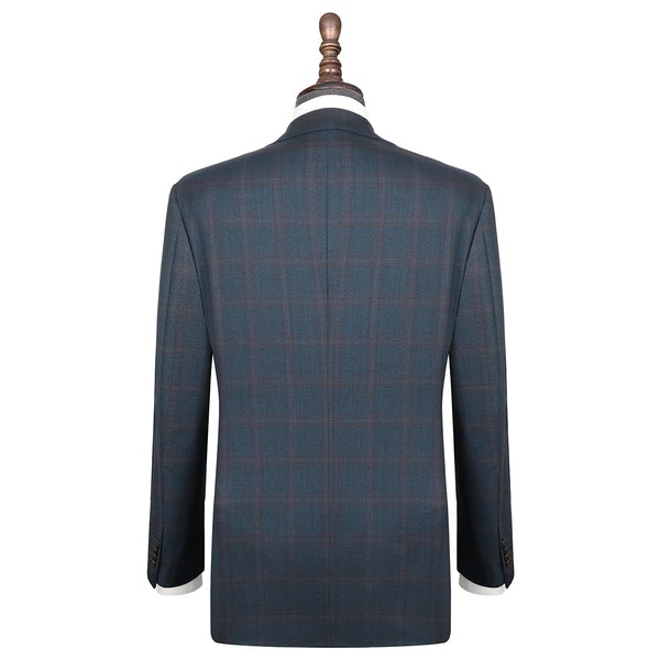 InStitchu Collection Herbert Blue Glen Plaid Wool Jacket