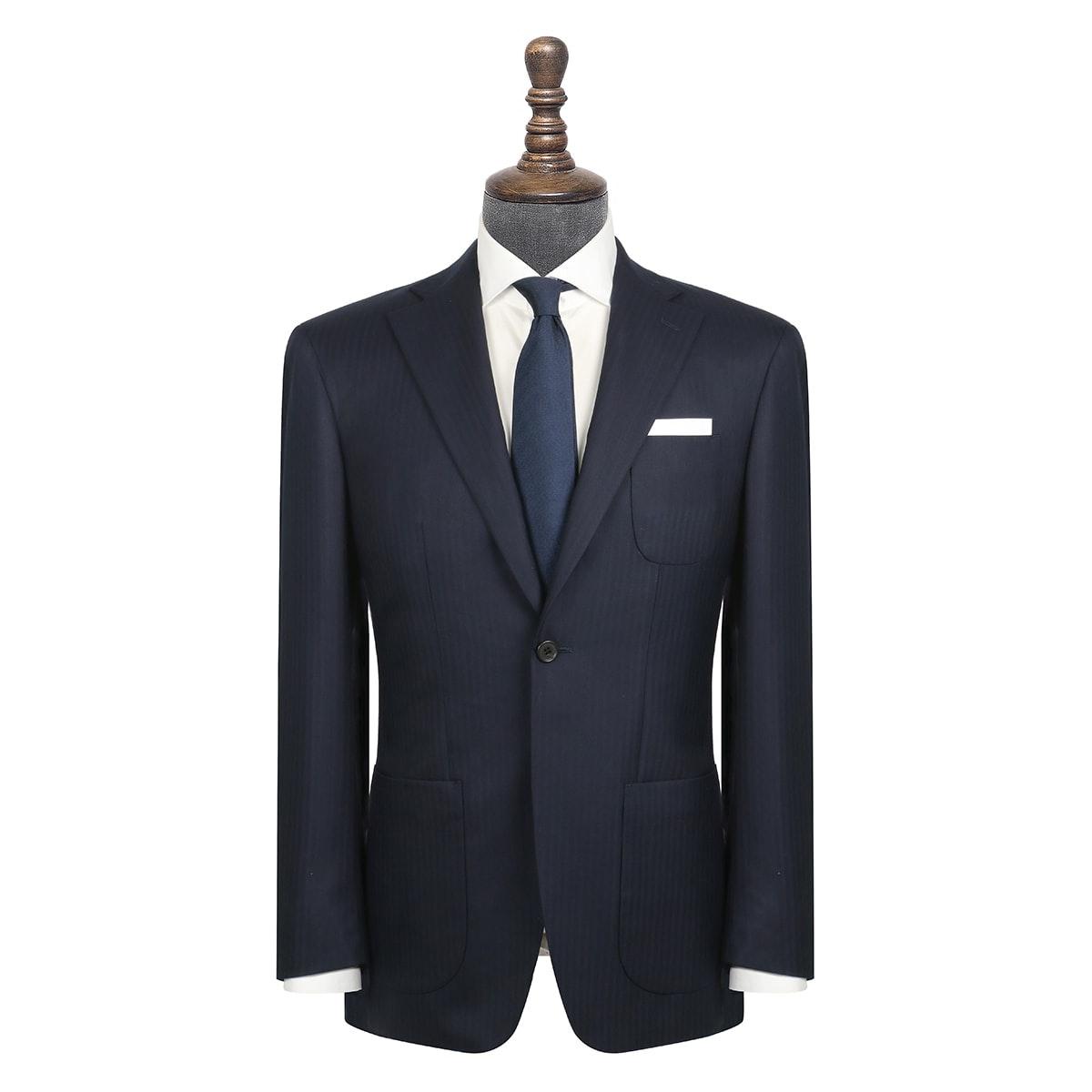 InStitchu Collection Kinfolk Navy Herringbone Wool Jacket