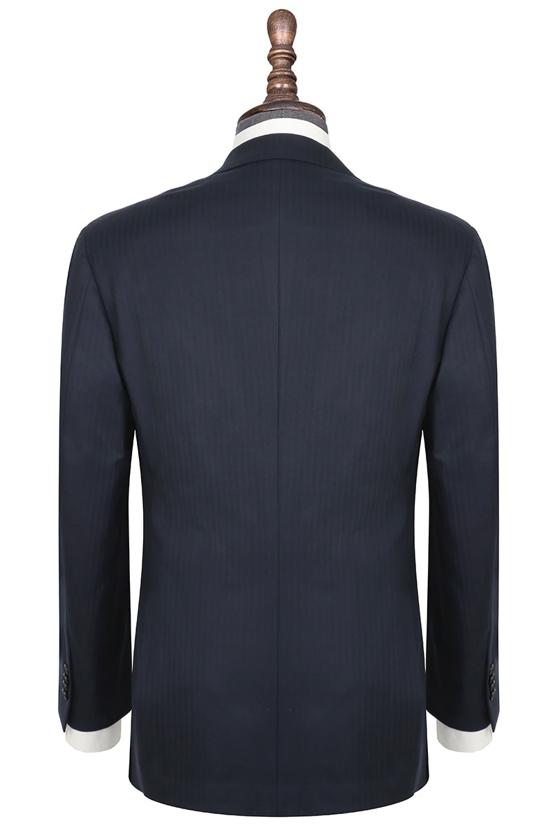 InStitchu Collection Kinfolk Navy Herringbone Wool Jacket