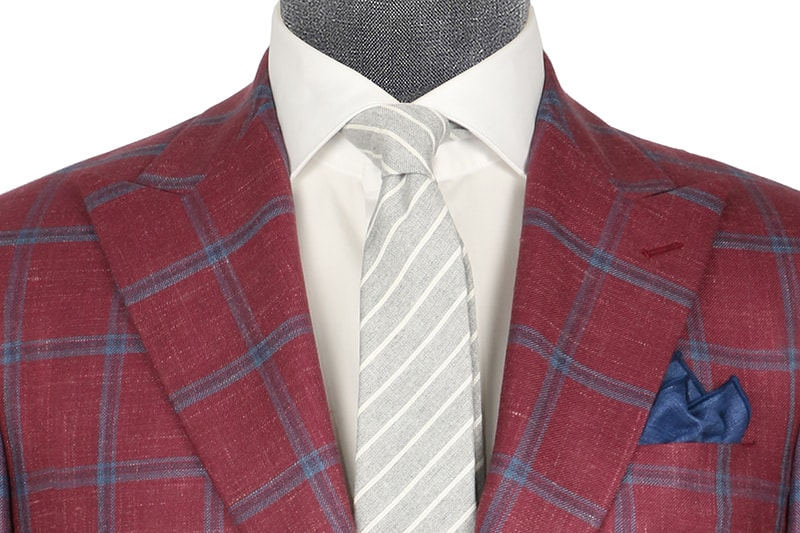 InStitchu Collection McEvoy Maroon and Blue Prince Of Wales Wool Blend Jacket