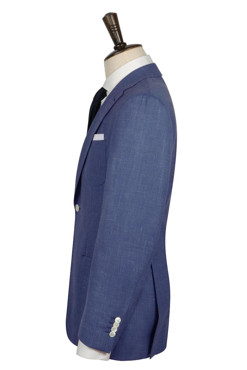 InStitchu Collection Navy and White Slub Wool Linen Blend Jacket