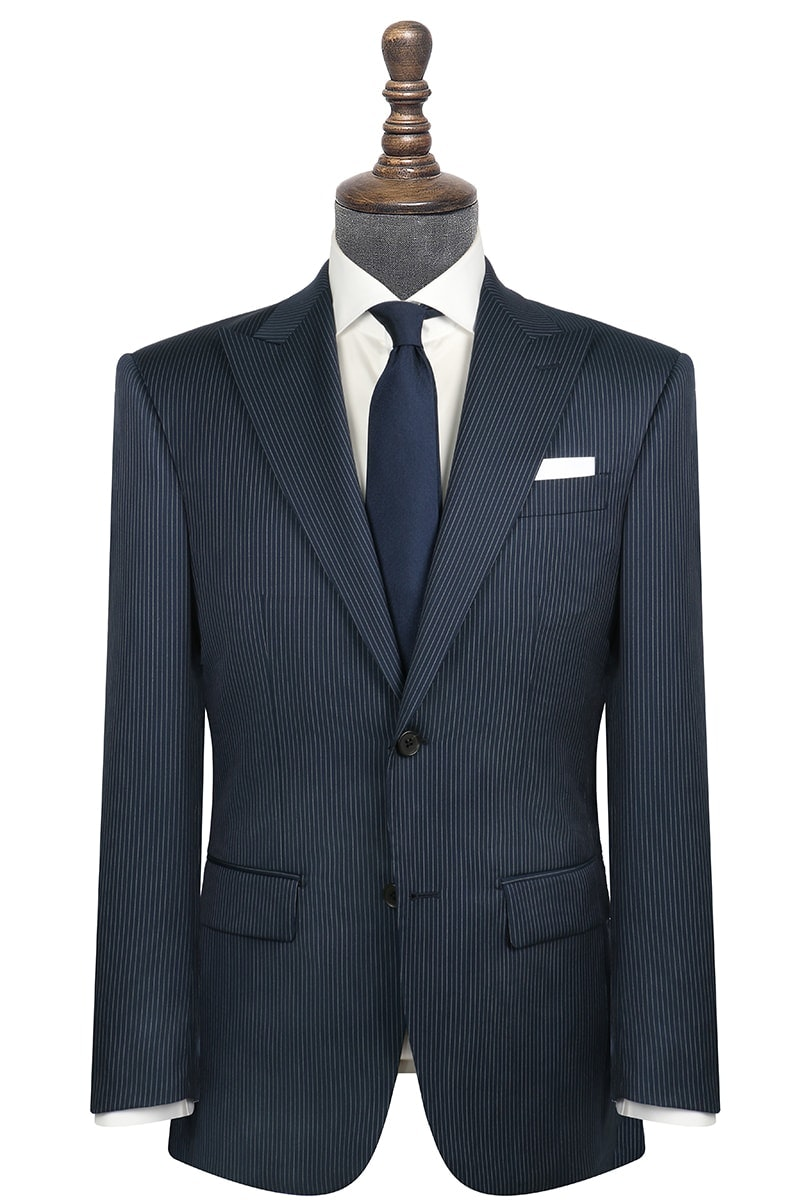 InStitchu Collection Pryce Navy Pinstripe Wool Jacket