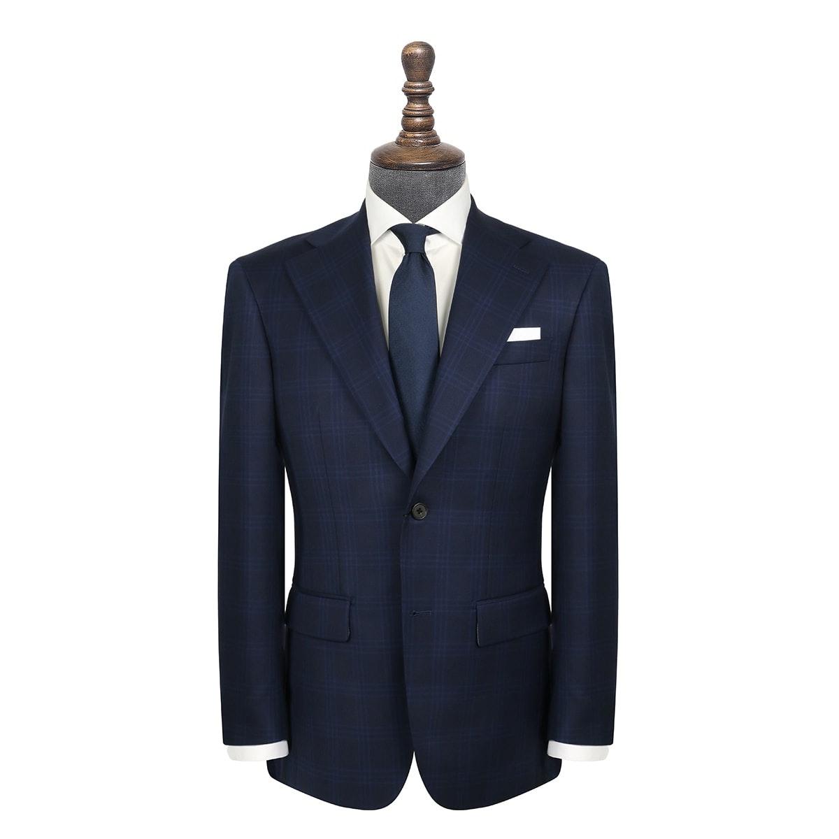 InStitchu Collection Schuman Navy Glen Plaid Jacket