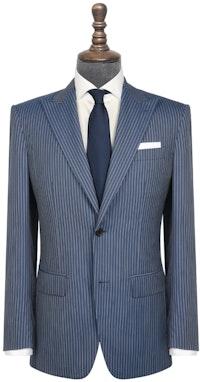 InStitchu Collection The Aberdeen Blue Grey Pinstripe Wool Jacket