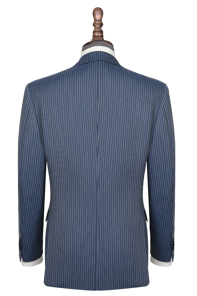 InStitchu Collection The Aberdeen Blue Grey Pinstripe Wool Jacket