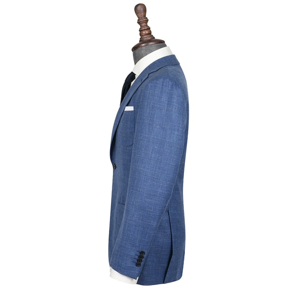 InStitchu Collection The Avington Vibrant Mid-Blue Prince of Wales Wool Jacket