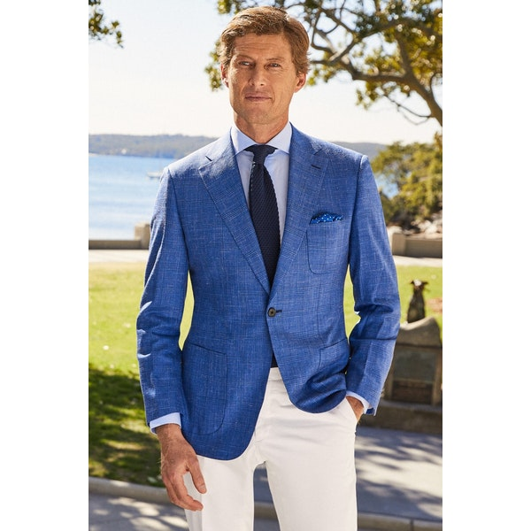 InStitchu Collection The Avington Vibrant Mid Blue Prince Of Wales Wool Jacket