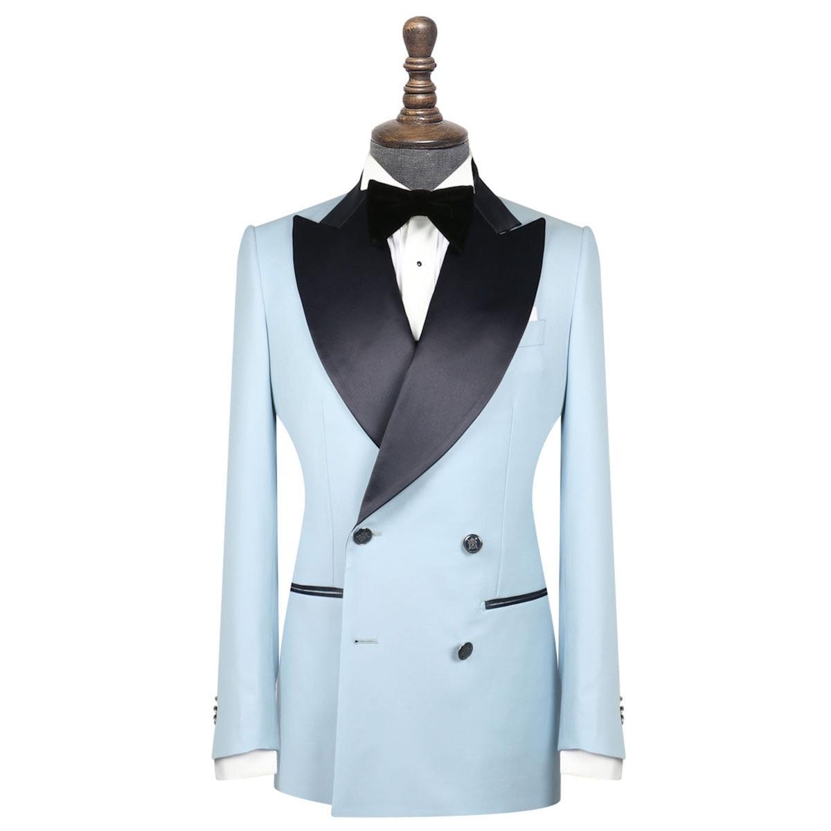 InStitchu Collection The Ballotelli Light Blue and Navy Wool Tuxedo Jacket
