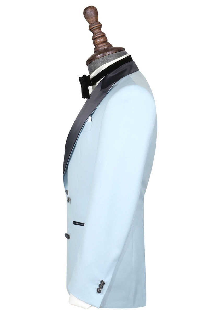 InStitchu Collection The Ballotelli Light Blue and Navy Wool Tuxedo Jacket