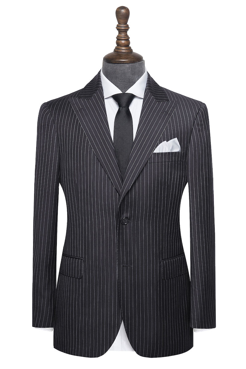 InStitchu Collection The Bleecker Navy Wool Pinstripe Jacket