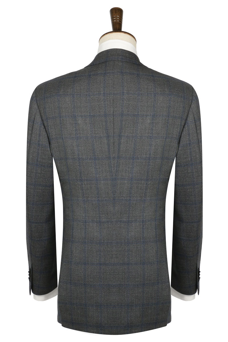 InStitchu Collection The Carnegie Deep Grey and Blue Check Wool Jacket