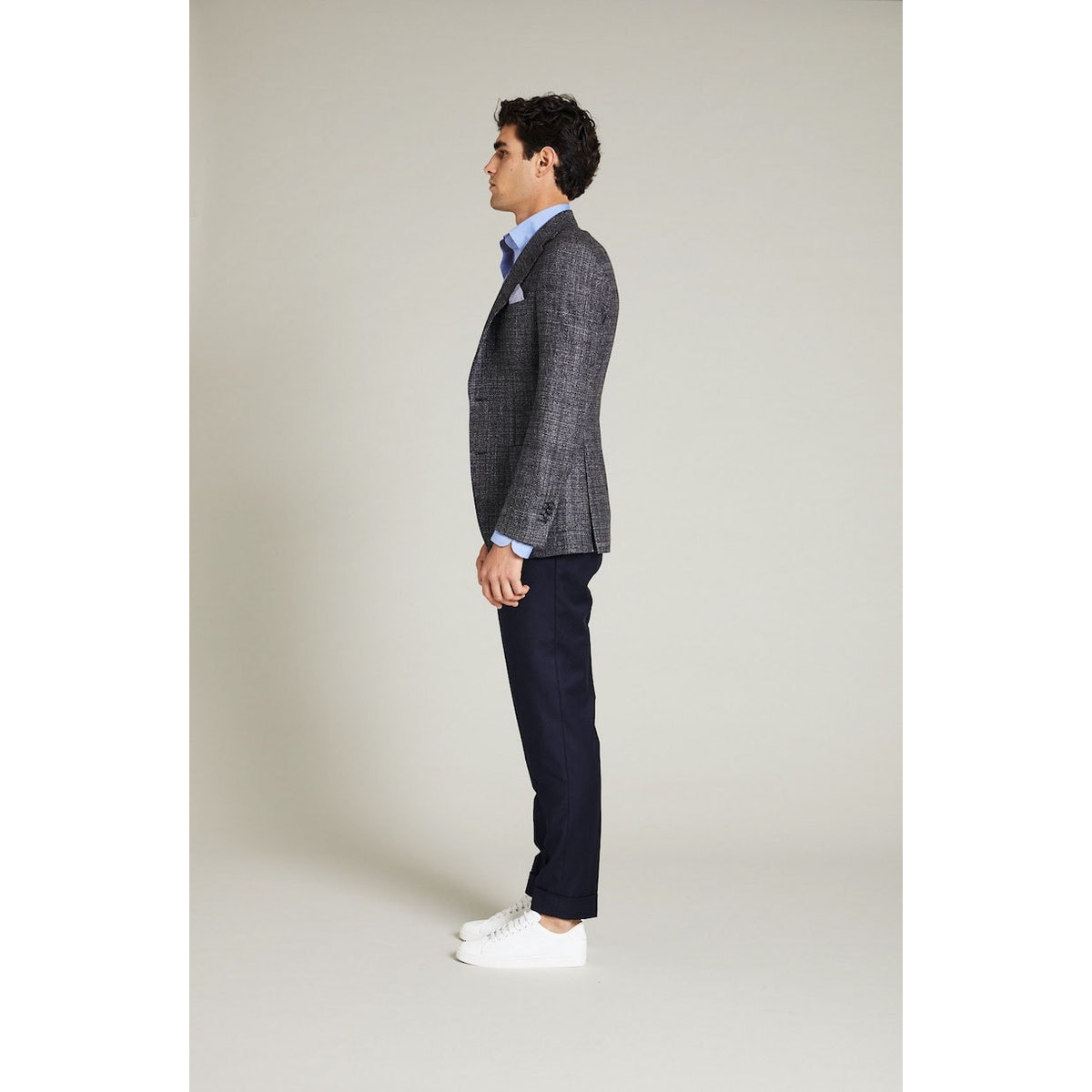InStitchu Collection The Davis Grey Woven Wool Jacket